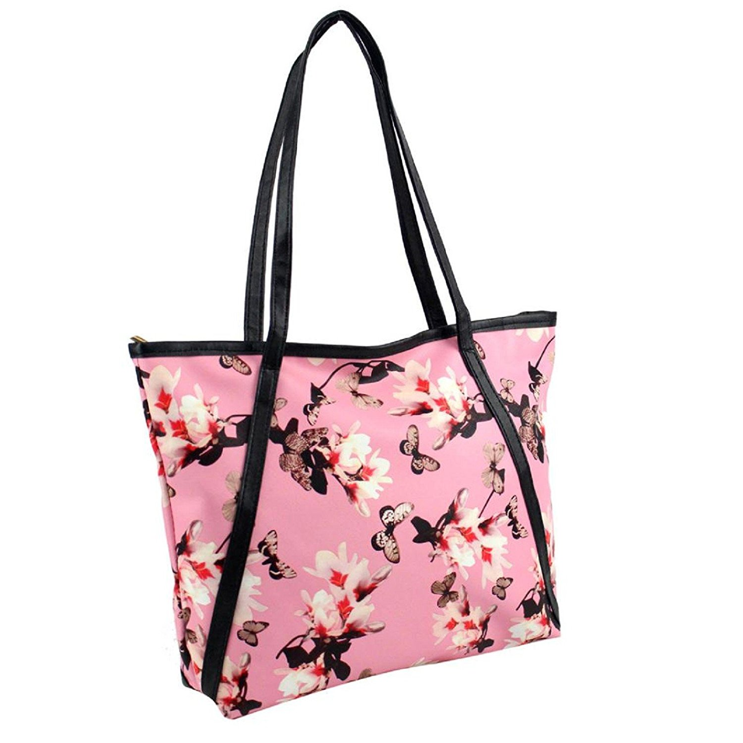 Owill Women Fashion Leather Bag Flower Butterfly Pictures Durable Handbag