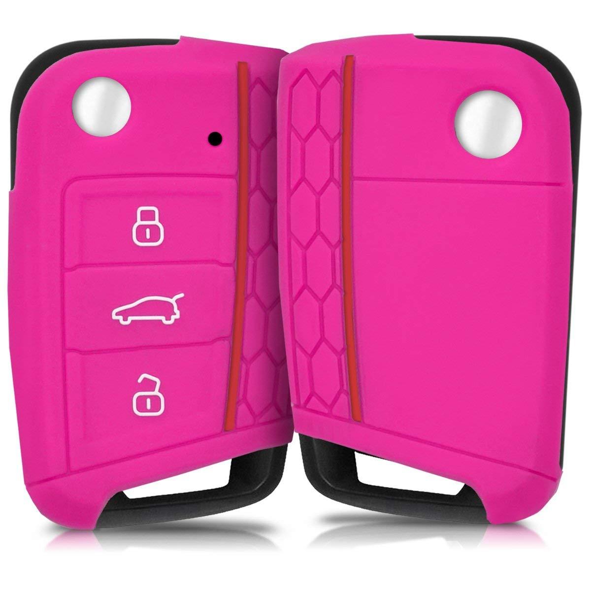 kwmobile VW Golf 7 MK7 Car Key Cover - Silicone Protective Key Fob Cover for VW Golf 7 MK7 3 Button Car Key - dark pink