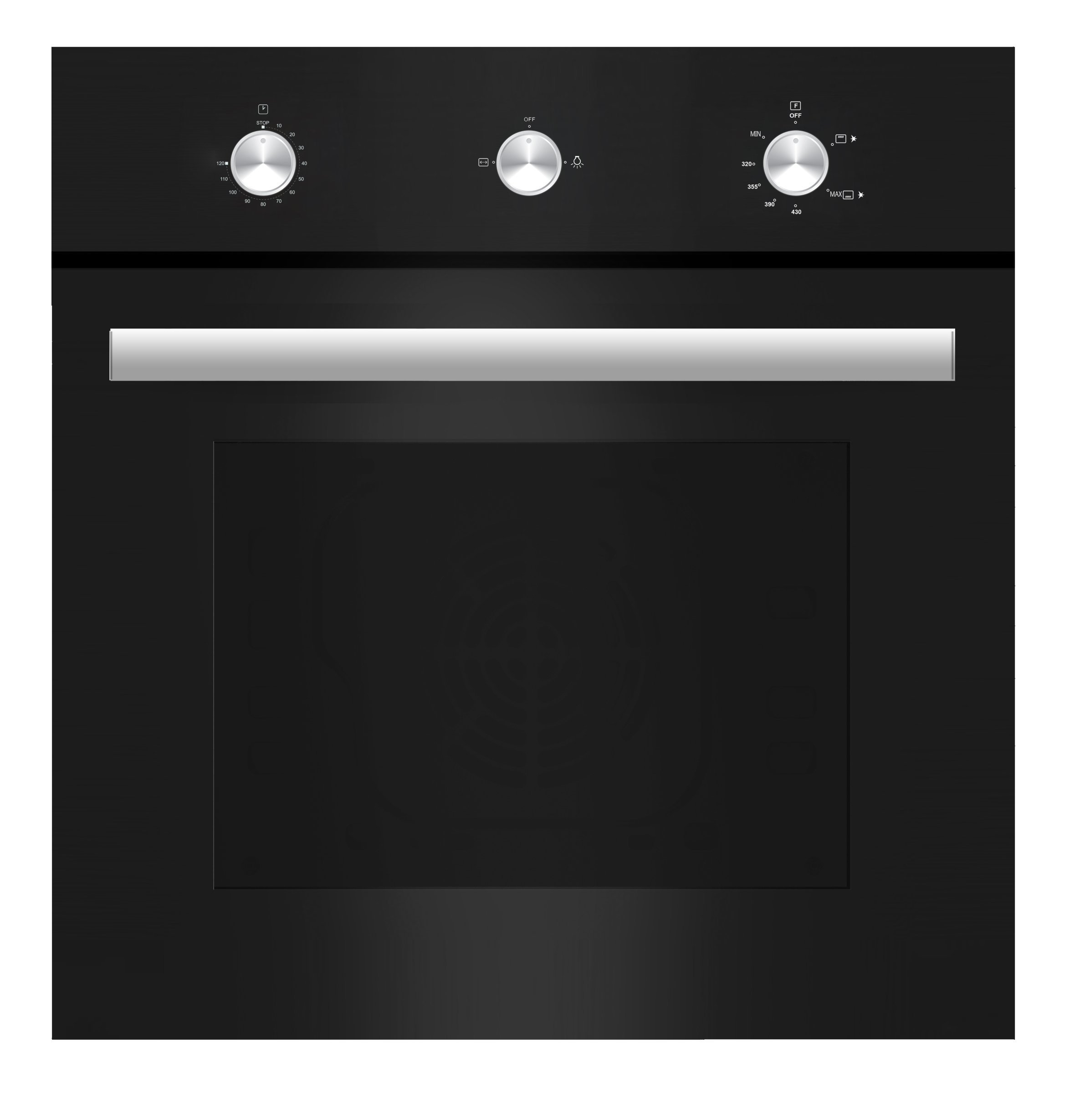 "Empava 24"" Tempered Glass Built-in Single Gas Wall Oven 1500W Black"