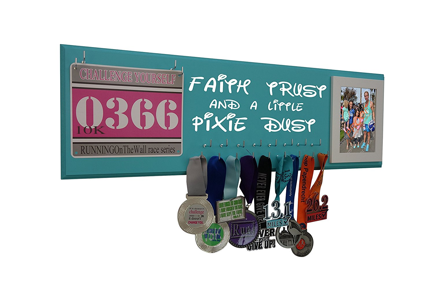 "RunningontheWall - Running medal hanger Disney, Disney medal display, Medal holders hangers for runners, Disney medal rack, Disney race medal hanger "" FAITH TRUST AND PIXIE DUST"" Picture frame"