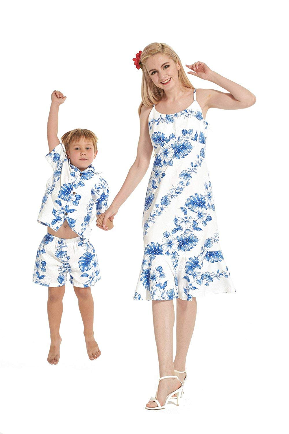 b8f5371bc9b4 Get Quotations · Made in Hawaii Matching Mother Son Dress Shirt in Line  Floral