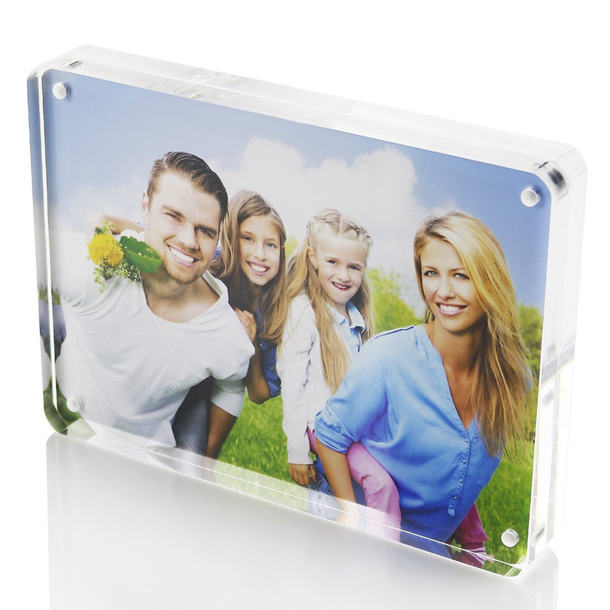 4x6 Picture Frame,Clear Photo Frames Tabletop Display,Magnetic Picture Frames Standing on the Desk-SupperAcrylic