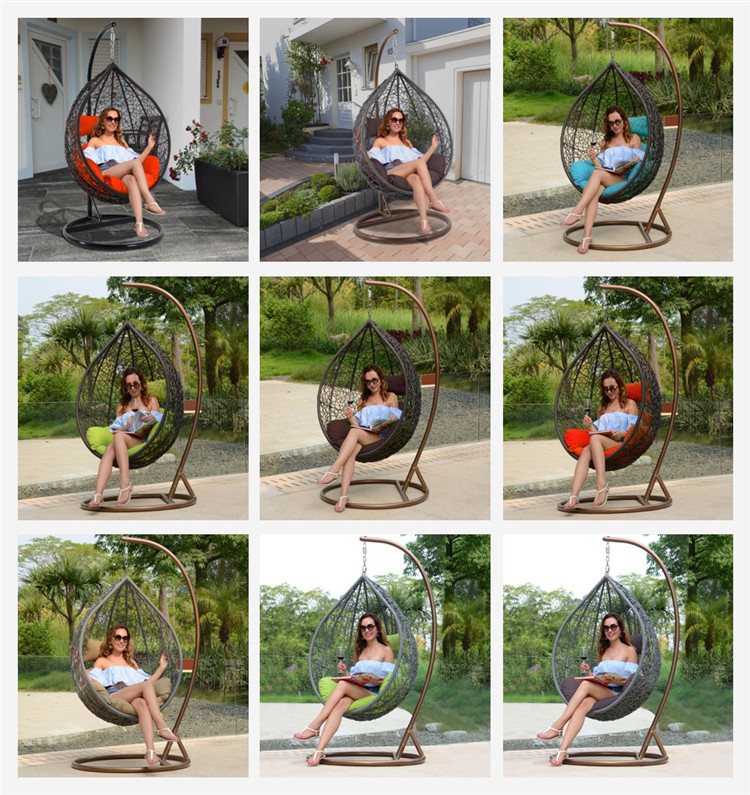 Hot Sell Steel f<em></em>rame Outdoor Rattan Hanging Swing Chair For Adults