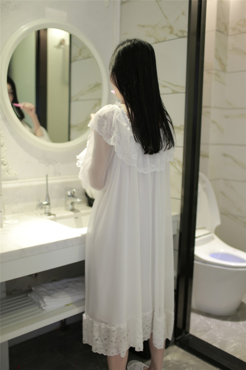 Lace Modal Nightgown Women Lace Long Home Dress Clothesshow