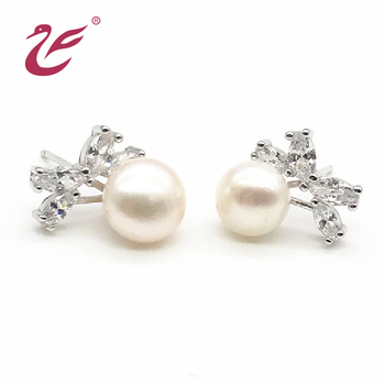 Fashion earrings jewelry custom crystal pearl stud earring