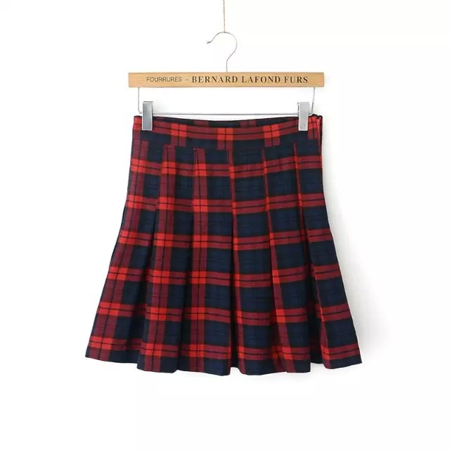 Womens Red Plaid Skirt - Skirts