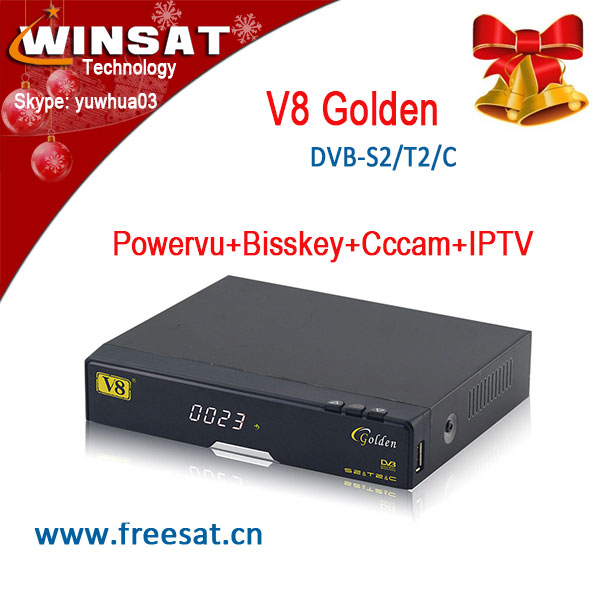 New upgrade satellite <strong>tv</strong> receiver V8 golden DVB-S2+T2+Cable support full powervu, bisskey and cccam, iptv for Europe market