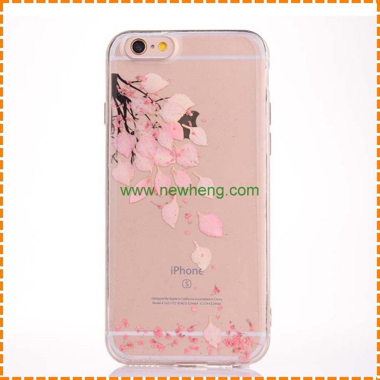 Transparent flexible tpu natural fresh real flower back Case for iPhone 7 7Plus 6 6 Plus