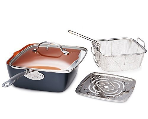 """Gotham Steel Titanium Ceramic 9.5"""" Non-Stick Copper Deep Square Frying & Cooking Pan With Lid, Frying Basket, Steamer Tray, 4 Piece Set - Graphite"""