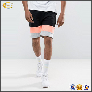 2017 New design comfortable blank Colour-block panels Jersey casual sweat shorts for man