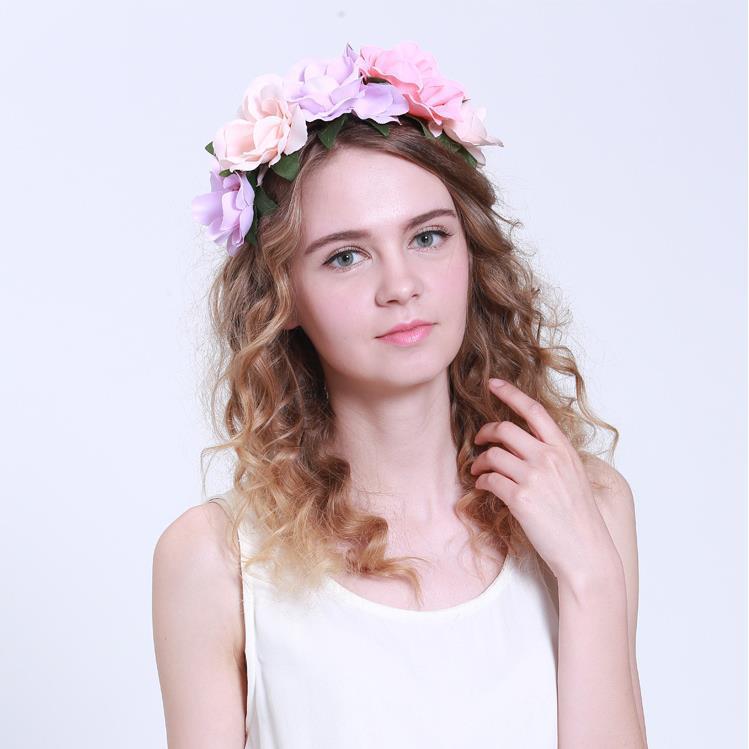 Get Quotations · Free Shipping New Women Wedding Floral Crown Flower  Garlands Girl Hairband Tiara Festival Ornament Bohemian Beach 58bdd515272f