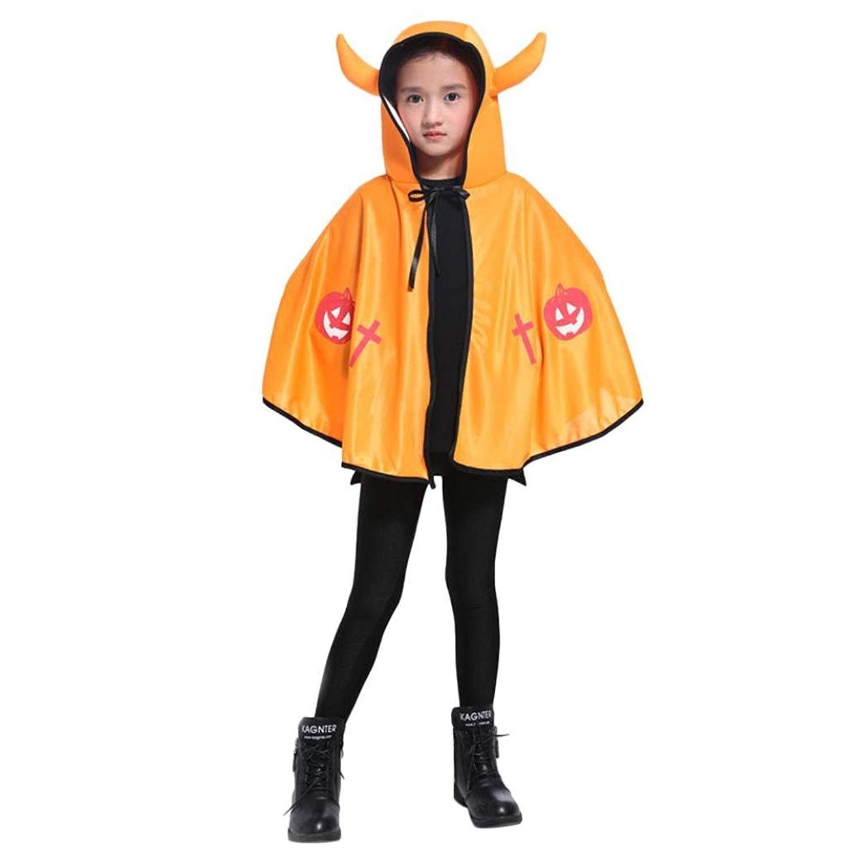 73CM Children's Halloween Costume Cloak Ox Horn Demon Magic Cloak Show Costume