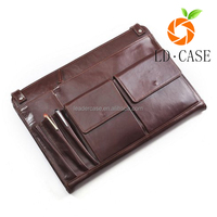 Wholesale price genuine leather pocket clutch carrying universal tablet case for 12.9'' Ipad Case