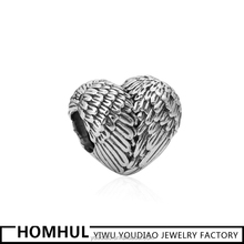 Angle Wing Bead, Heart Shaped Jewelry Bead For Charm Bracelet & Necklace