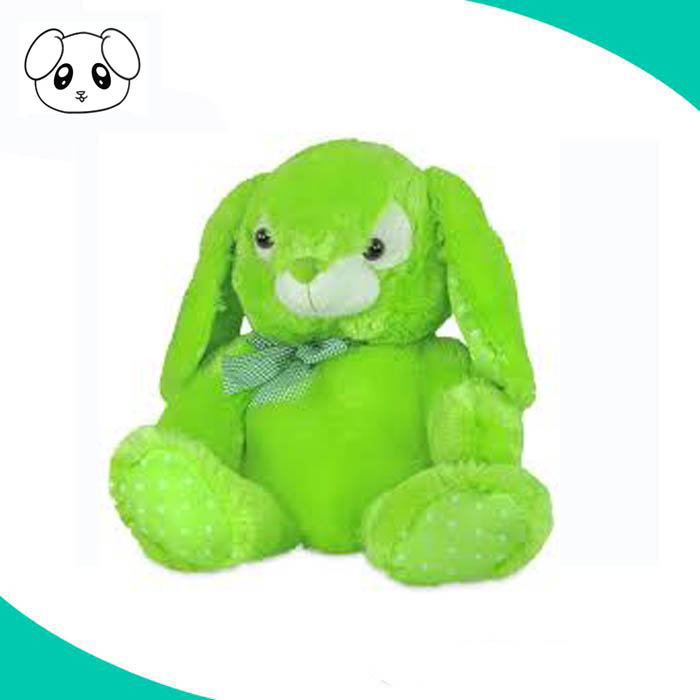 deep pile green blue stuffed plush bunny rabbit soft toy