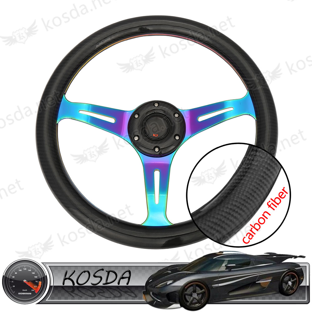 14'' aftermarket car parts race neo chrome real carbon fiber steering wheel