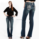 Wholesale Attractive Design Embroidery Customized Miss Chic women jeans