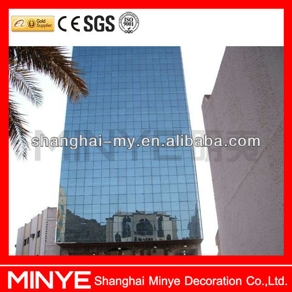 Low-e tempered insulating glass curtain wall