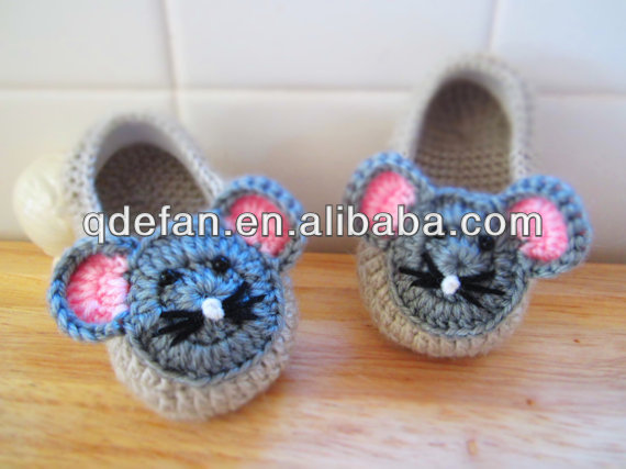 Cute hand knit baby boys shoes crochet animal baby shoes