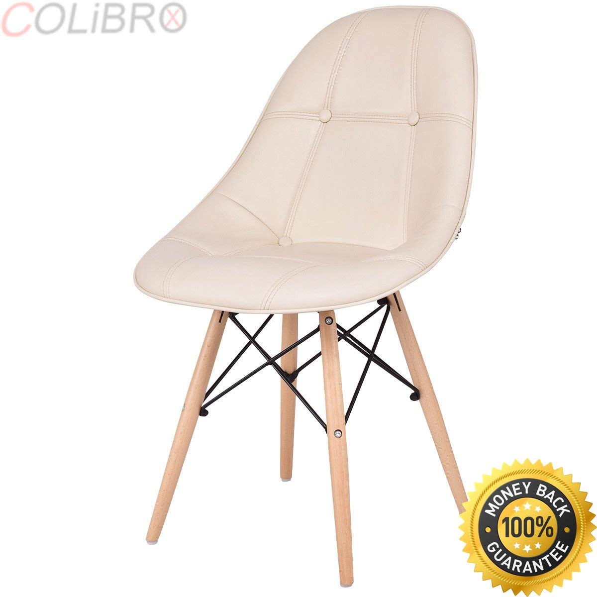 COLIBROX--Set of 2 Dining Side Chair Armless PU Leather Seat with Wood Legs Beige Modern. dining chairs set of 2. upholstered dining room chairs. beige leather dining room chairs. beige dining chairs.