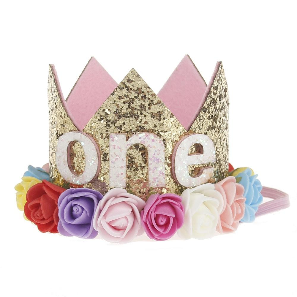 Hair Accessories Birthday Crown Flower Crown Headband Glitter Sequins Newborn