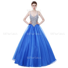 Heavy Beading Top Blue Evening Dress Ball Gown Organza Spaghetti Strap Long For Girls Prom Dresses
