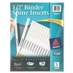 "Avery : Custom Binder Spine Inserts, 1/2"" Spine Width, 16 Inserts/Sheet, 5 Sheets/pack -:- Sold as 2 Packs of - 1280 - / - Total of 2560 Each"