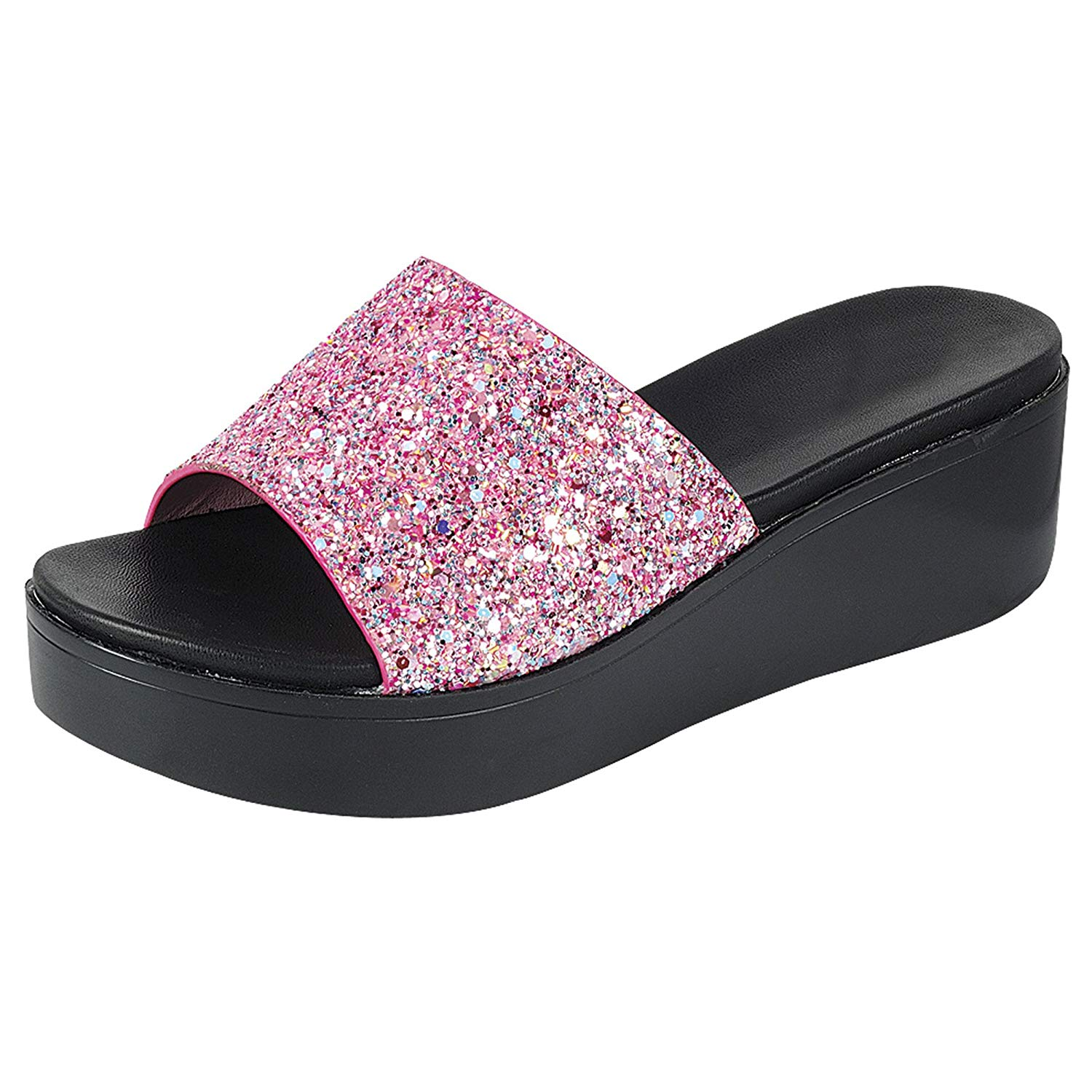 c728ccb88529bd Get Quotations · Trends SNJ Women s Glitter Solid Platform Mid Heel Wedge  Slide Sandal