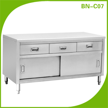 Stainless Steel Commercial Kitchen Table Under Storage