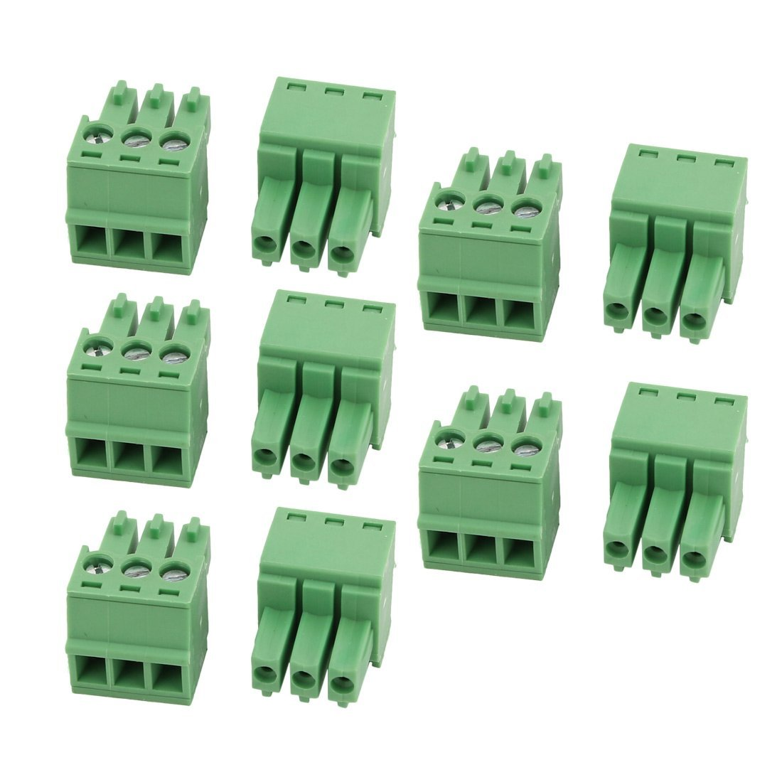 uxcell 10Pcs LC1 AC300V 8A 3.5mm Pitch 3P PCB Terminal Block Wire Connection