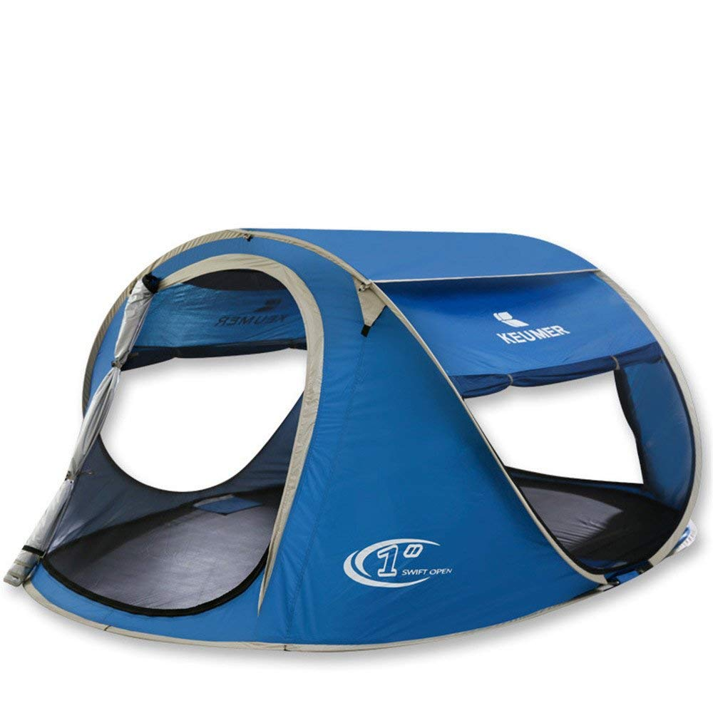 Opbsite 3-4 People Camping Tent Anti Rainstorm Pressing Tent Automatic Pop Up Instant For Outdoor Sports With Blue Color