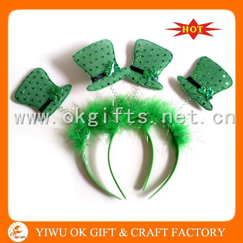 Traditional St Patricks hats headband made by feather and sequin fabric, cheap feather headbands, sequin star headbands