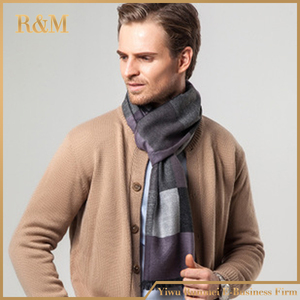 mens silk wool scarf winter tassels long men stripe scarf factory