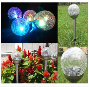 Westinghouse solar color changing crackle finish glass ball garden stake light