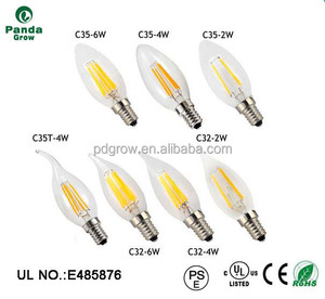 E12 E14 Dimmable 6w LED Filament Candelabra Light Bulbs, 35W Incandescent Replacement, Warm White