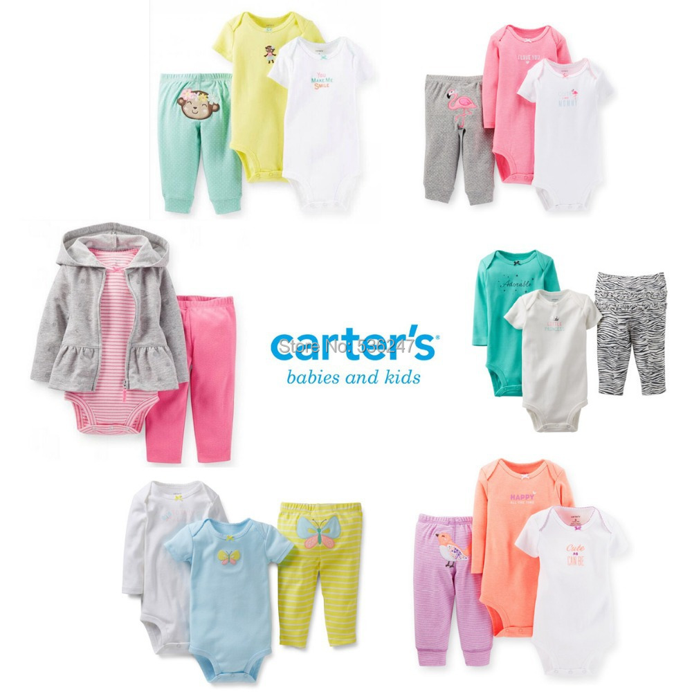 10 Style Carters 3 Piece Set Baby Clothes Boy Girls Short Long Sleeve Bodysuit Pants Infant