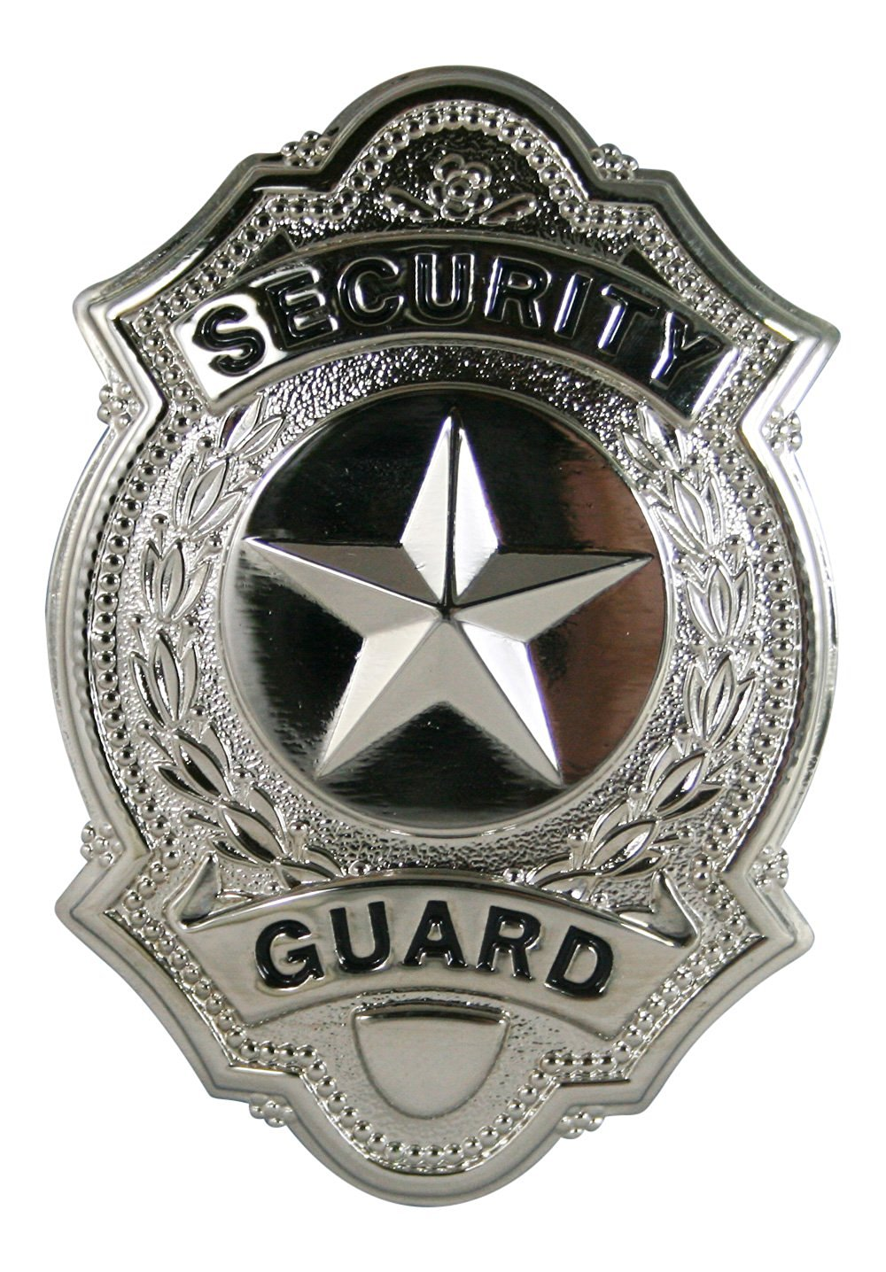 "Security Guard Officer Star Center Uniform Shirt Jacket Badge Shield Silver Nickel Finish 1-5/8"" x 2-1/2"""