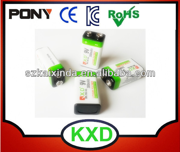 li-ion polymer 9v led driver battery 300mah with hard case