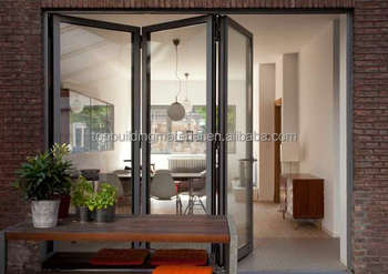 Free shipping aluminum folding glass door