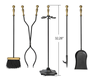 Fireplace Tools 5 Pieces Wrought Iron Tool Set Fireset Firepit Fire Place Pit Poker