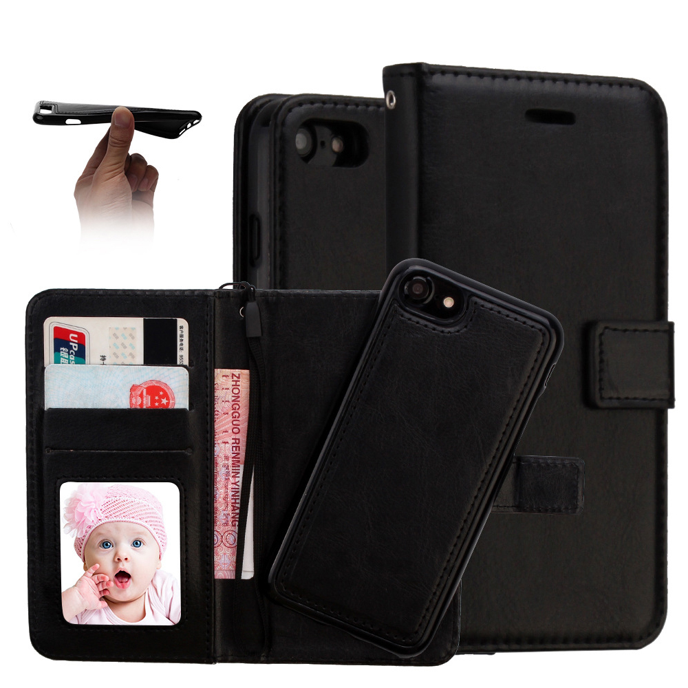 Hot sale high quality magnet detachable wallet business style phone leather case for iphone фото