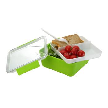 Portable Plastic Bento Box Multi Compartments With Cultery Kids