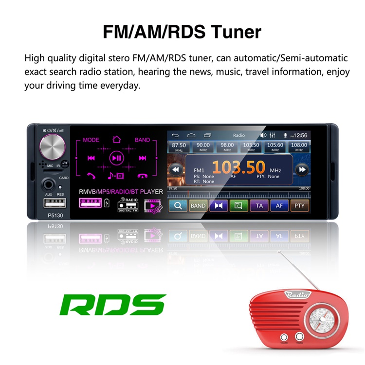 """Podofo Car Stereo 1 Din Autoradio Car Radio 4.1"""" Capacitive Touch Screen Video RDS/FM/AM Bluetooth With Rear Camera + Microphone"""