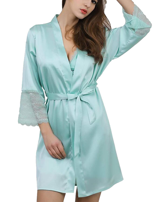 dc190c8ec7 Get Quotations · LD Womens Pure Color Lace Kimono Satin Bathrobe Robes  Nightgowns