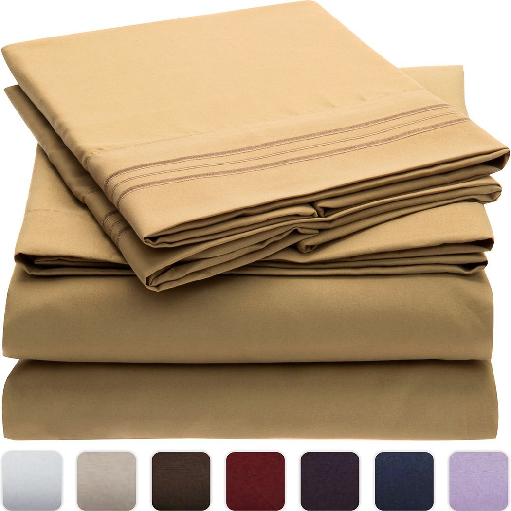 Mellanni 3pcs Bed Sheet Set - HIGHEST QUALITY Brushed Microfiber 1800 Bedding - Wrinkle, Fade, Stain Resistant - Hypoallergenic - 3 Piece - 1 Fitted Sheet and 2 Pillowcases (Queen, Gold)