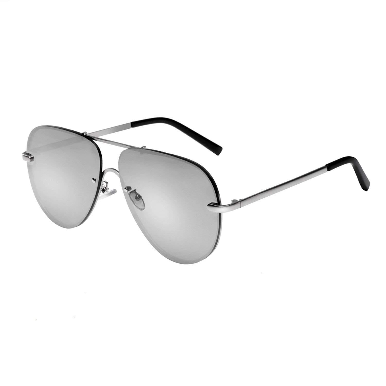 d7dd0d8545 Get Quotations · Hoishing Retro Aviator Rimless Frame Sunglasses for Women  and Men Flat Mirrored Lens UV400 Protection (