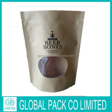 Biodegradable dry food packaging 3 layers PET/CPP kraft paper bag with clear window