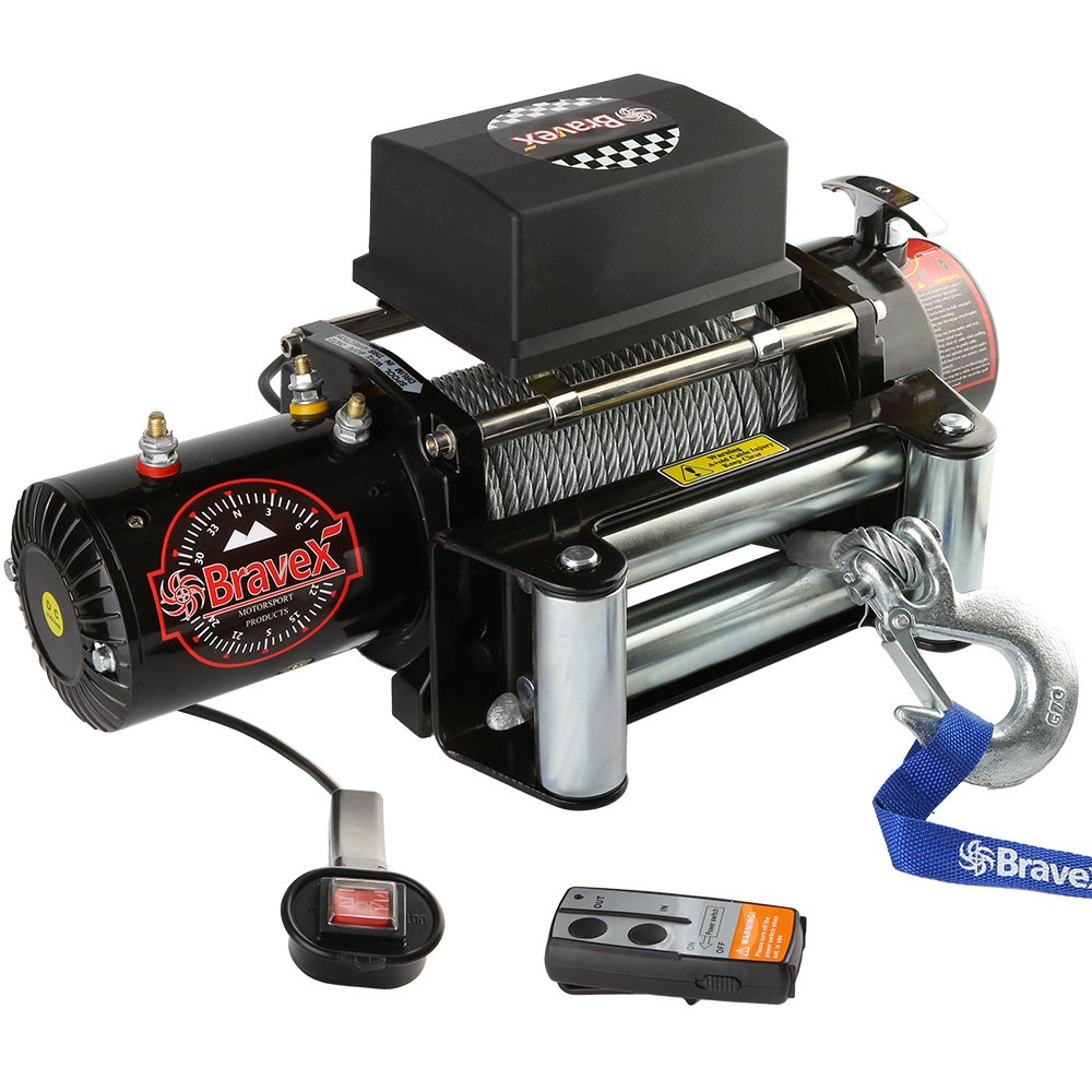 Bravex Electric 12V 3500lb//1591kg Single Line Waterproof Winch for UTV ATV Boat with Both Wireless Handheld Remote and Corded Control Recovery Winch