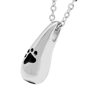 Pet Funeral Jewelry Wholesale Teardrop 316L Stainless Steel Keepsake Ashes Holder Urn Paw Print Cremation Jewellery