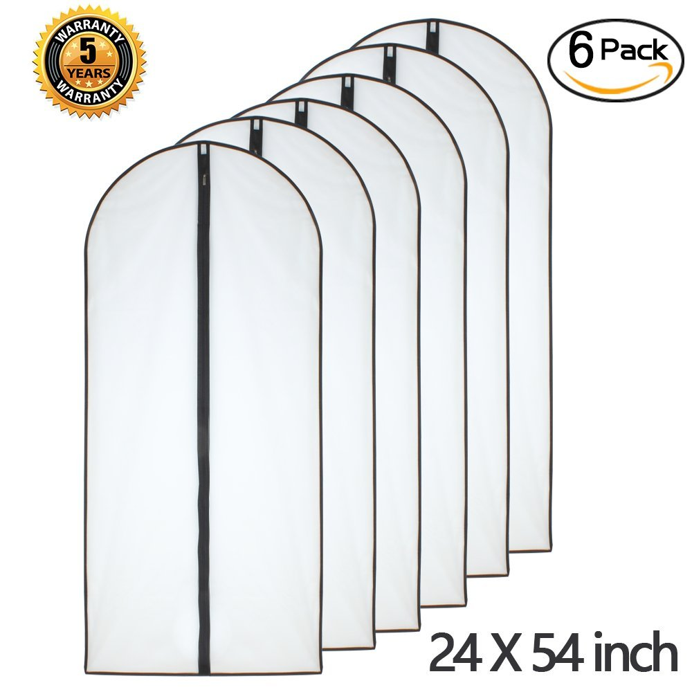 Moth Proof Garment Bags 24'' x 54'' ( Pack of 6 ) Black Side Breathable Clear Garment Full Zipper Bags for The Longer Winter Coats Dress Clothes